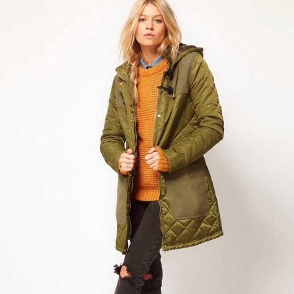 Asos Quilted Duffle Jacket In Green